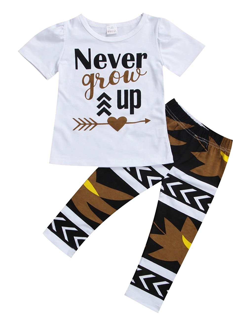 Little Girls Never Grow Up T-shirt and Maple Leaves Pants Outfit