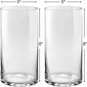 Set of 2 Glass Cylinder Vases 8 Inch Tall X 5 Inch Round - Multi-use: Pillar Candle, Floating Candles Holders or Flower Vase – Perfect as a Wedding Centerpieces.