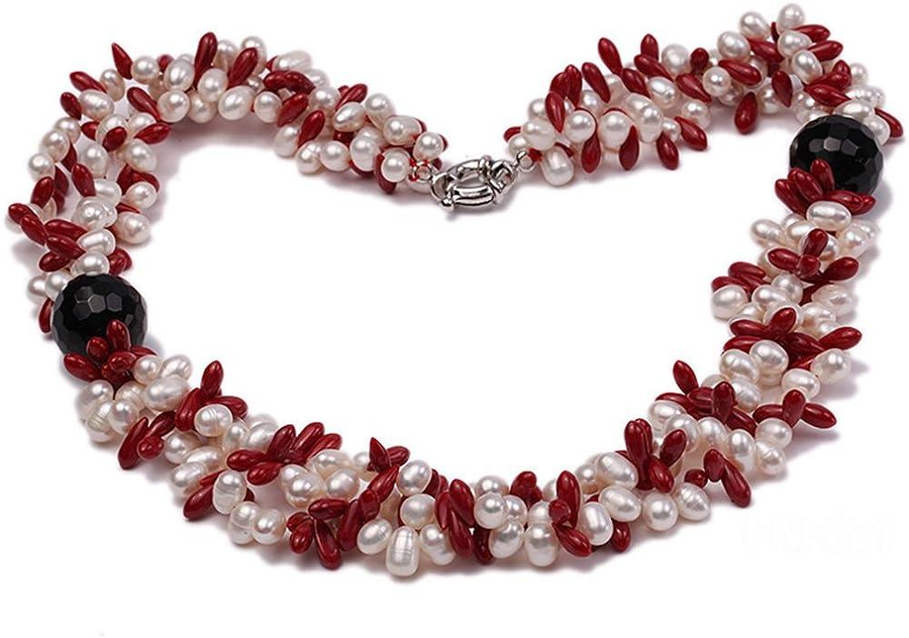jyx three-strand 6–7mm blanco perla de agua dulce y 4x 10mm Coral perlas collar con perlas de ágata