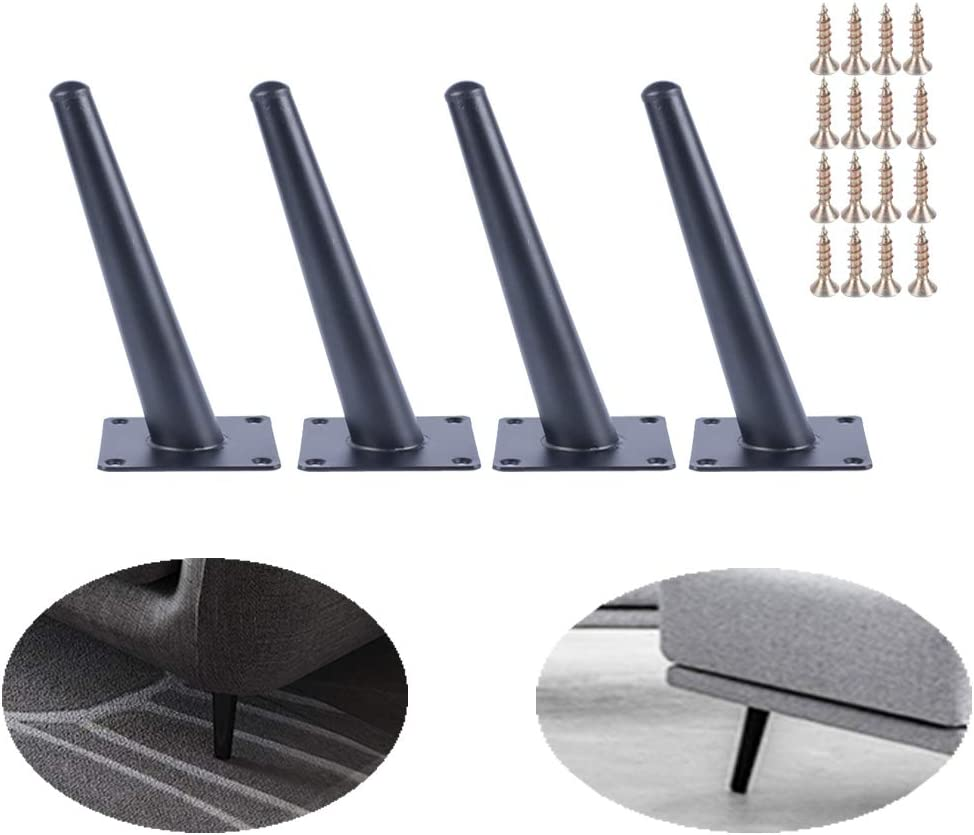 ALXEH Slant Furniture Leg 4 Inch Steel Cabinet Feet, 4pcs Metal Table Legs for Sofa and Bench, Black