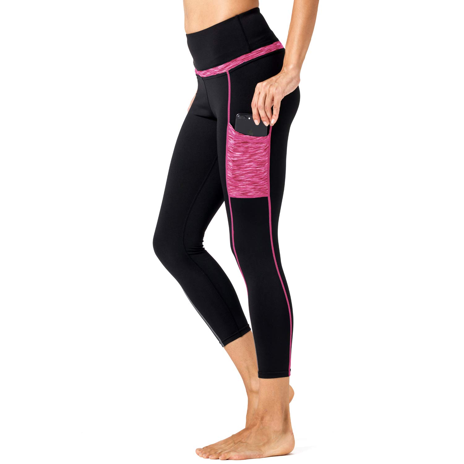 8 Cc201803pink Black Tesuwel Women Yoga Pants with Pockets High Waist Tummy Control Running Workout Pants Leggings
