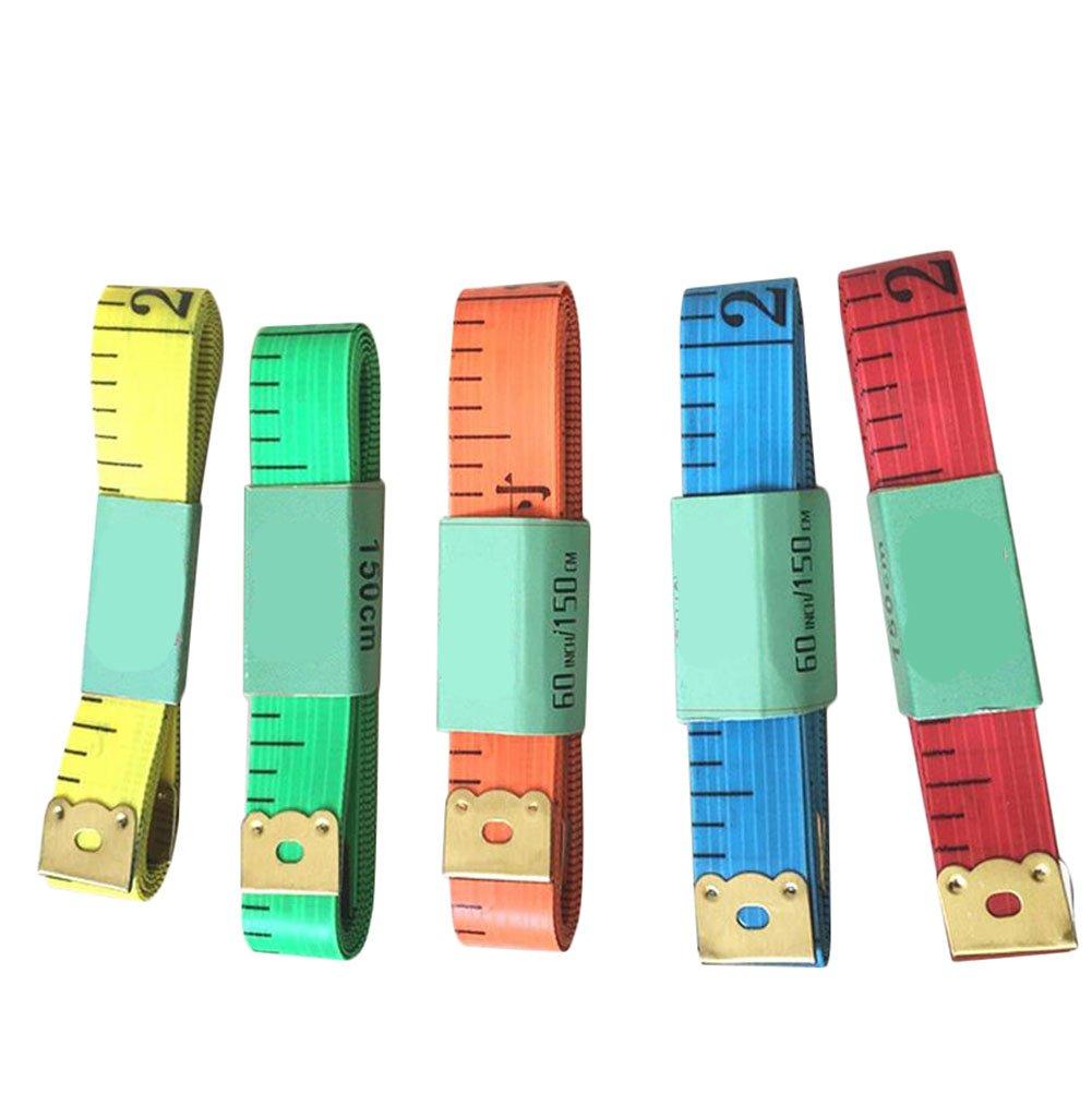 spaufu 10x Nastro a misura metro in nastro doppio lati Graduazione chiara strumento di misura tinti 60pollici 150cm colori casuali
