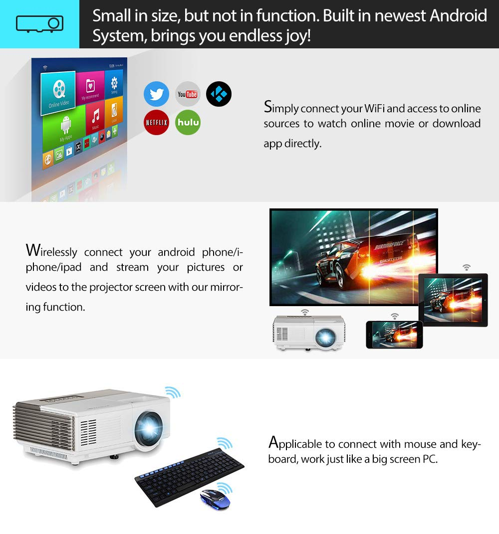 Portable LCD HDMI WiFi Mini Projector Bluetooth,Built-in Android Smart Home  Theater Projectors Wireless Airplay Screen Mirror, LED 50000hrs for
