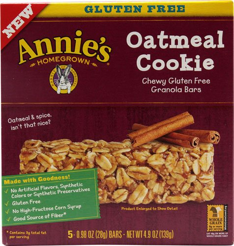 Annie's Homegrown Chewy Gluten Free Granola Bars Oatmeal Cookie -- 5 Bars
