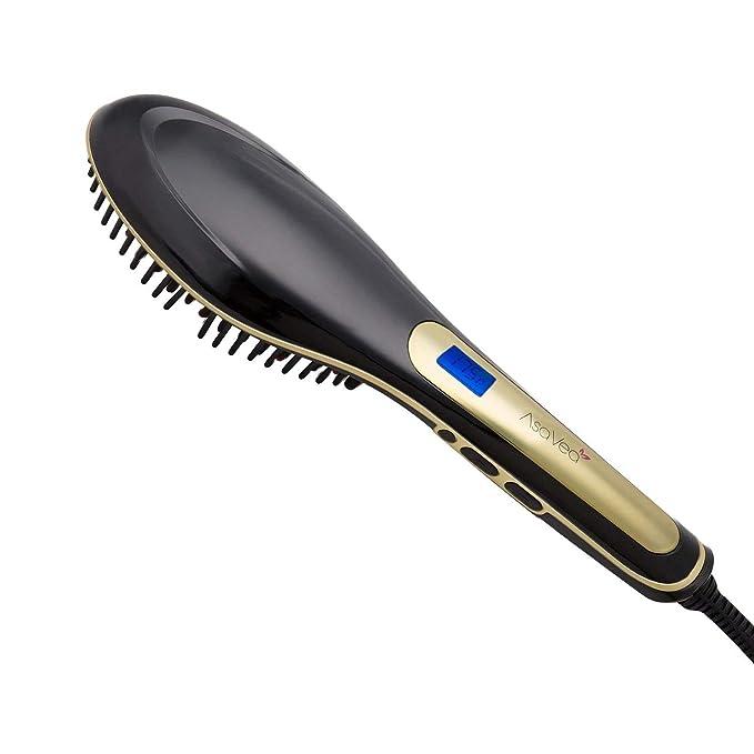 AsaVea - Cepillo alisador de cabello eléctrico, color negro y dorado: Amazon.es: Belleza