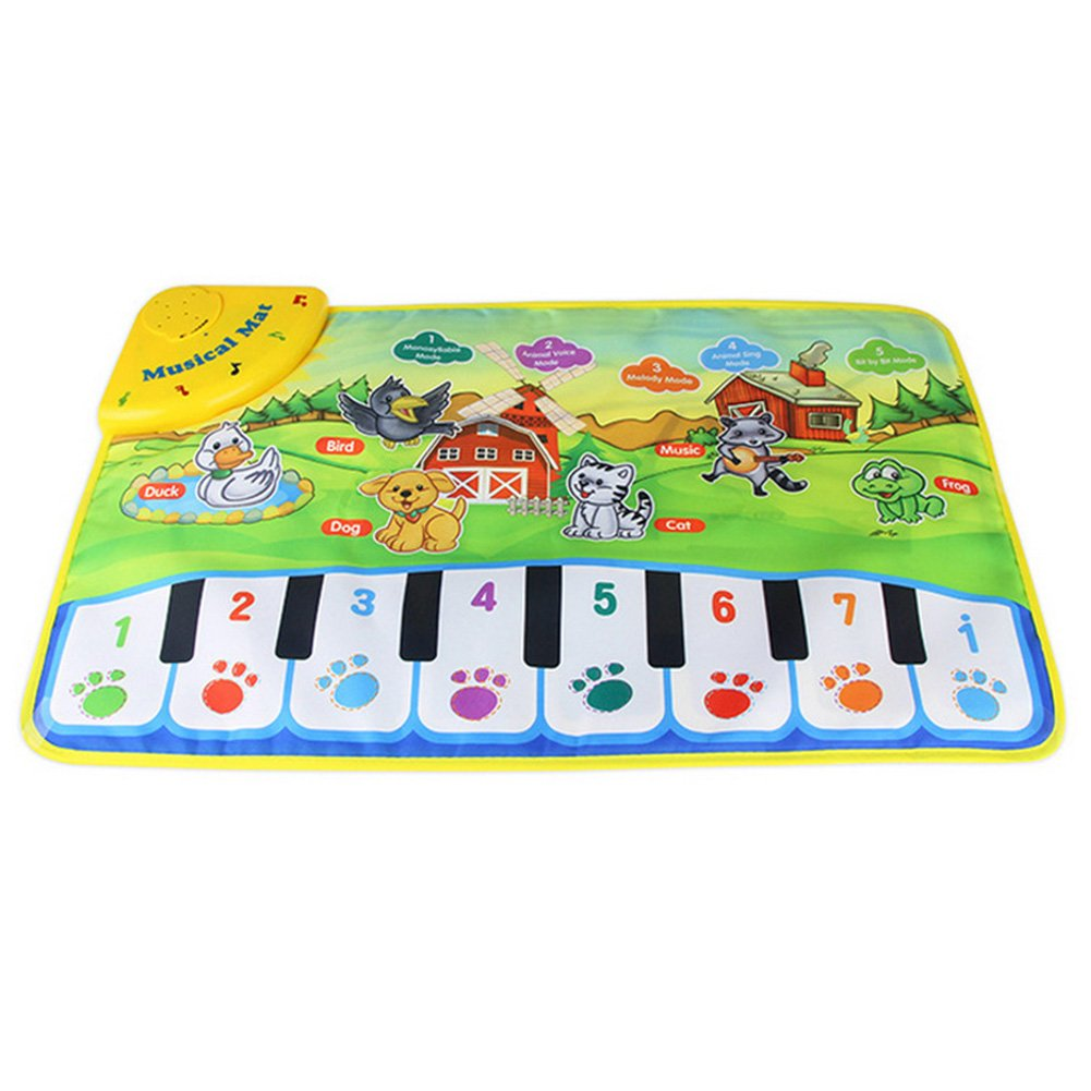 60x37cm Baby Animal Music Carpet, Baby Music Mat, Baby Child Piano Music Carpet Baby Crawling Rug Playing Pad Activity Blanket Cushion Baby Birthday Gift Present(60x37cm)
