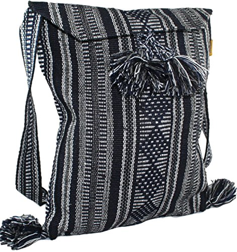 Tribal Morral Shoulder Messenger and Work Bag Made in Mexico (Choose Your Colors) (Medium, Navy Blue Striped)