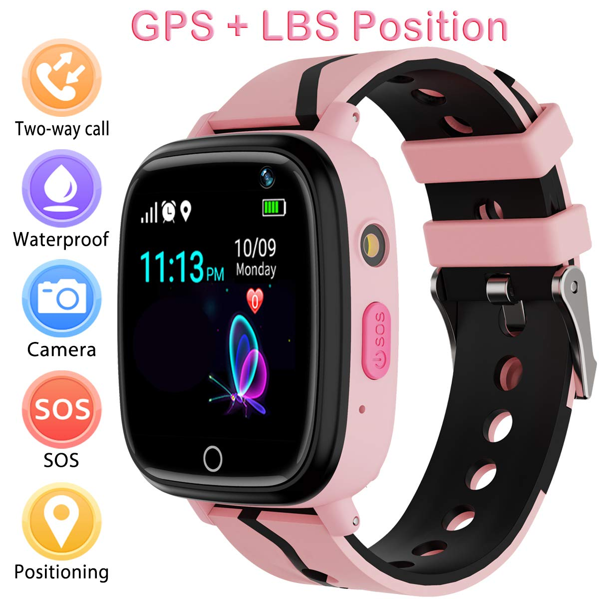 Kids Smart Watch with GPS Tracker,Kids Smartwatch Waterproof,HD Touch Screen Pedometer Fitness Tracker Camera,Watch Wrist Digital Watch Android Phone,Sport Smartwatch for Girls Boys iOS & Android by YENISEY