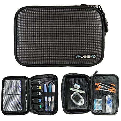 ChillMED Elite Diabetic Insulin Cooler Bag Travel Case with Two 6oz Cold Packs for Cooling Medication and Pens (Slate Grey) 10