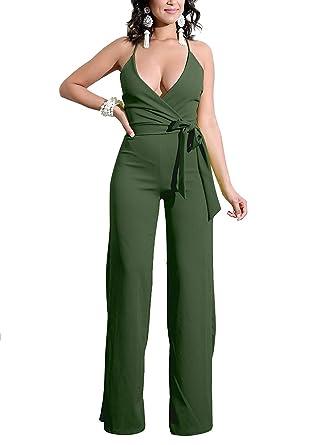3675539a6dcf Amazon.com  QUEENIE VISCONTI Women Sexy Jumpsuits and Rompers Deep V-Neck  Cross Strap Wide Leg Capris Jumpsuit  Clothing