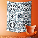 Polyester Tapestry Wall Hanging Decor Medieval Persian Palace Flower Leaf Shapes Arabian Decor Artwork Light Blue Wall Decor for Bedroom Living Room Dorm