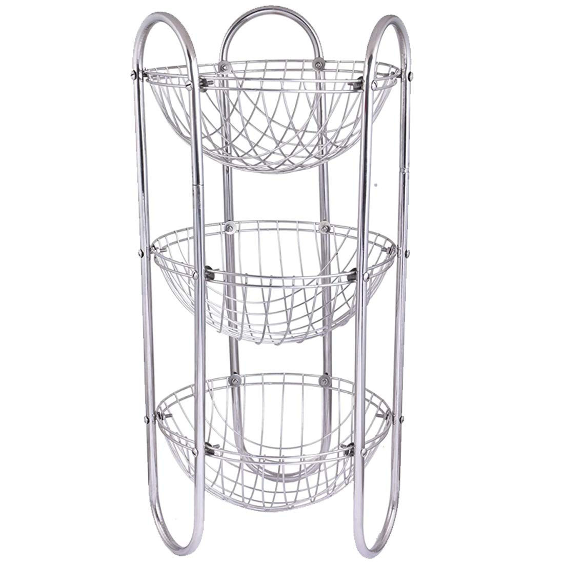 Oc9 Stainless Steel Fruits and Vegetables Round Trolley/Basket/Rack/Stand 3 Shelf Silver