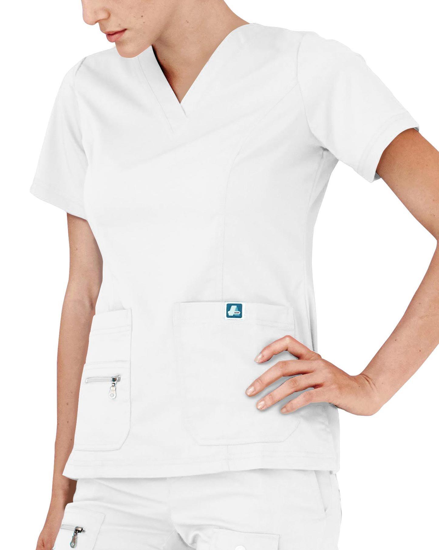 Adar Indulgence Womens Jr Fit Enhanced V-neck Scrub Top - 4212 - White - M
