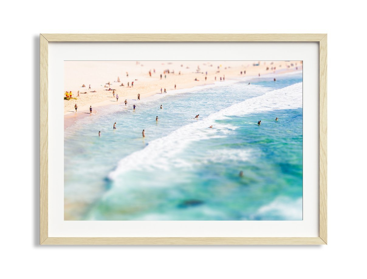 30x42'' Framed Extra Large ''Lazy Daze'' Bondi Beach Australia Aerial Beach Photography Print by Daydrift