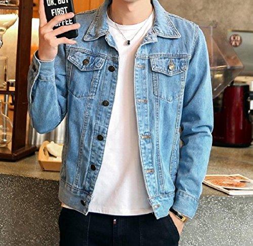 Slim Light Button Turn Pocket Jean Howme Front Collar Fit Coat Down Men Blue aR8wxwqP5