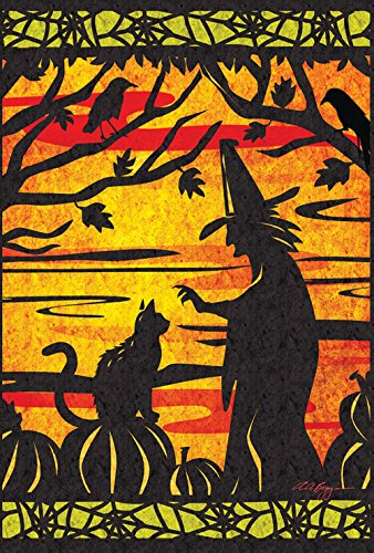 Toland Home Garden Witch's Best Friend 28 x 40 Inch Decorative Halloween Witch Cat House Flag -