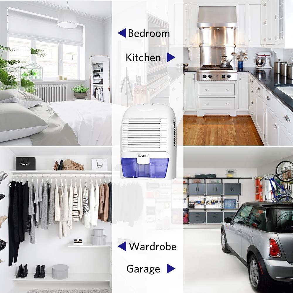 Office Caravan Kitchen Mold Compact and Portable for Damp Air Basement 2200 Cubic Feet Bedroom Garage besmira 1500ml Dehumidifier Moisture in Home