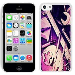 NEW Unique Custom Designed iPhone 5C Phone Case With Mechanical Tools_White Phone Case