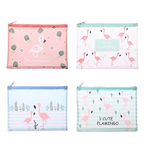 zrshygs Travel Cosmetic Bag Lovely Flamingo A4 A5 B6 File ...