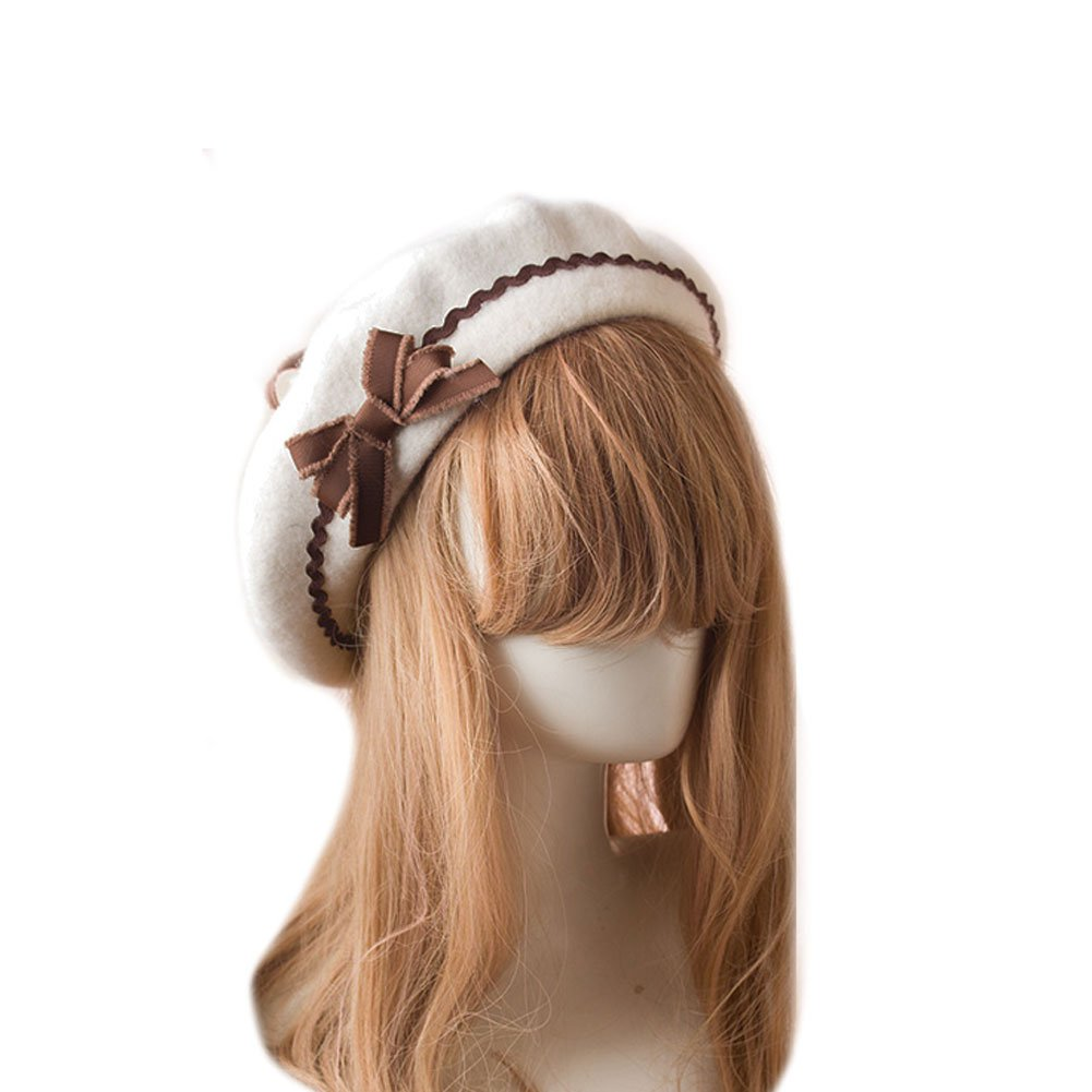 BLESSI Fashion Wool Pom Pom Bowknot Cute Beret Hats Pink Elegant Warm Soft Chic Lolita Cap with Bow for Girls (White + Coffee)