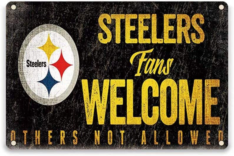 YOMIA Garage Decorations for Men for Pittsburgh Steelers Fans Welcome Others not Allowed Tin Signs 12 X 8 Inches