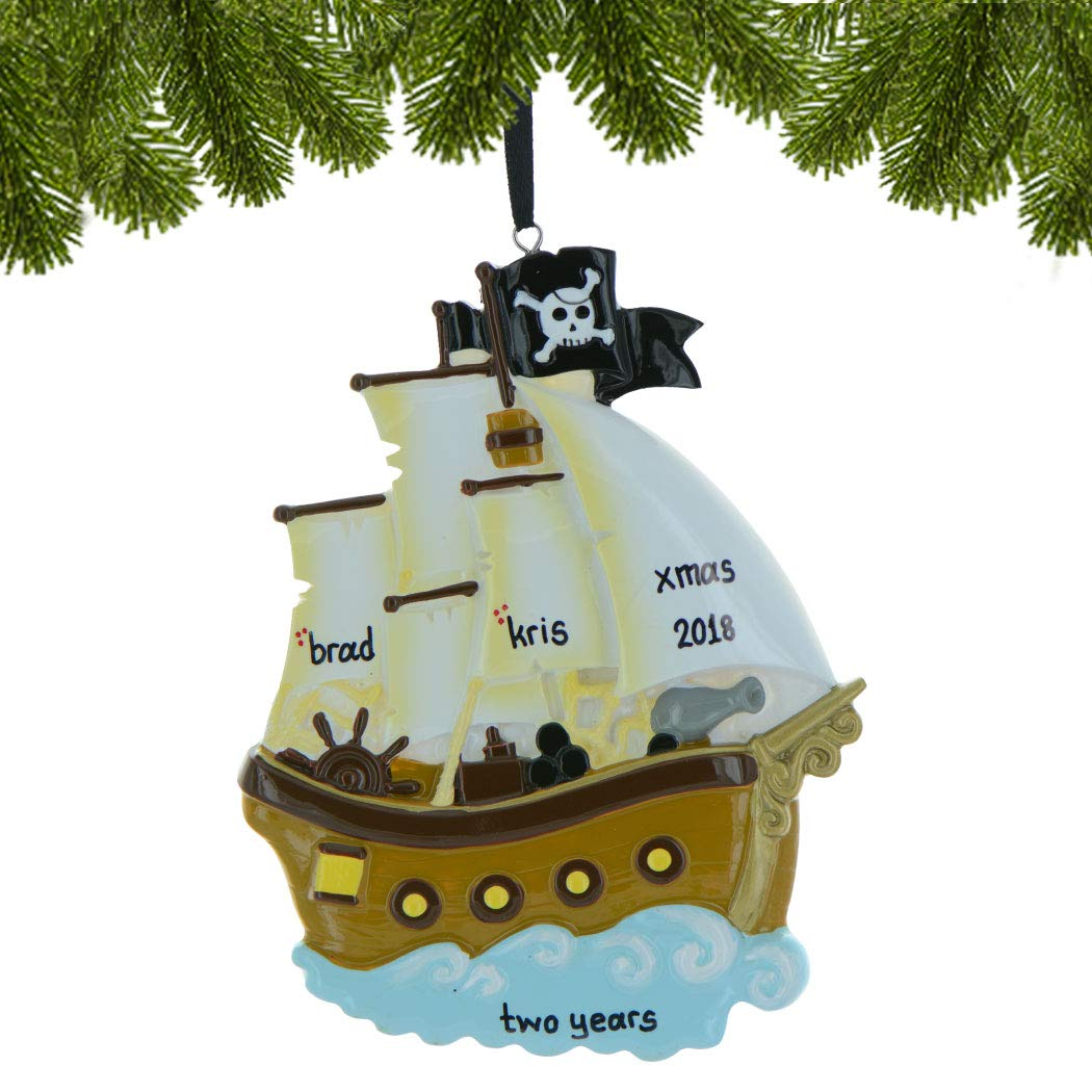 Last Day To Ship For Christmas 2019.Personalized Pirate Ship Christmas Tree Ornament 2019 Wooden Sailor Boat Adventurous War Vessel Deck Caribbean Boy Toddler Holiday Kids Toy Sea