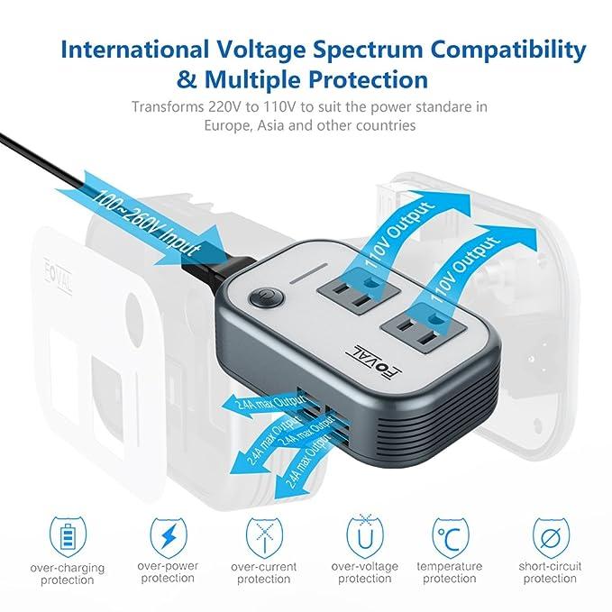 Amazon.com: Foval Power Step Down 220V to 110V Voltage Converter ...