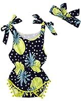 Toraway 2PCS Set Infant Kids Baby Girls Sleeveless Feather Romper Jumpsuit+Headband Outfits Set
