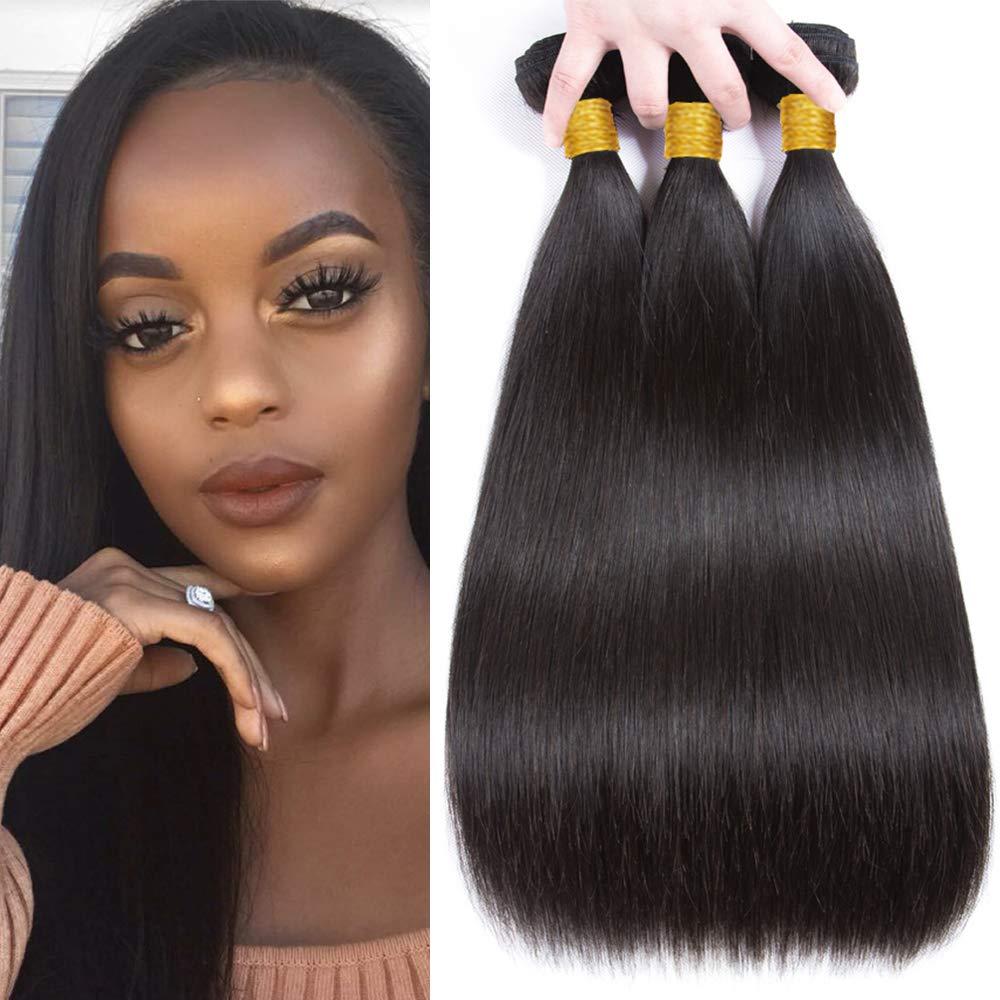 Brazilian Hair 3 Bundles 8A Virgin Unprocessed Straight Human Hair 16 18 20 inch 300g Straight Virgin Hair Weave Bundles Natural Color