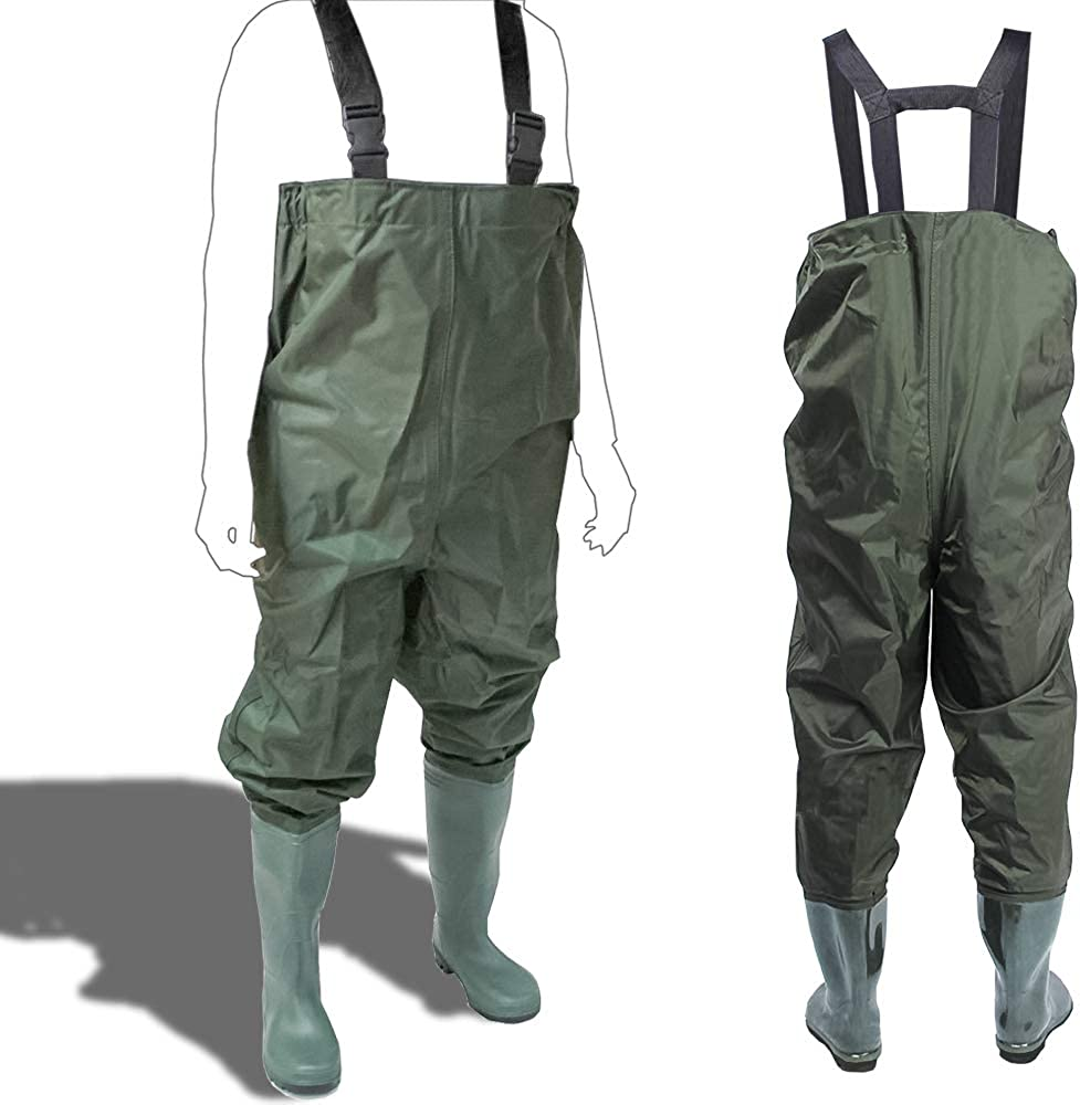 Wathose Wasserdicht Anglerhose Teichhose Angler mit Stiefeln Gr M-XXL