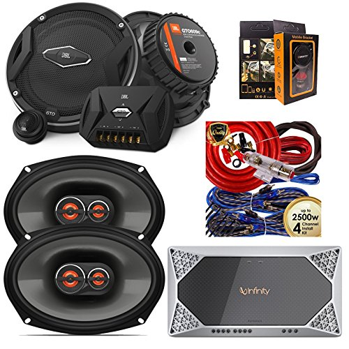 "Infinity REF-704A 1000W Reference Series 4-Channel Amplifier + JBL GX963 300W 6""x9"" 3-Way GX Series Coaxial Car Speakers + JBL GTO609C Premium 6.5"" Component Speaker + Amp Kit"
