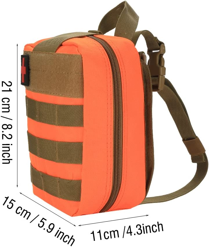 VGEBY1 First Aid Pouch Survival Medical Utility Bag Military Emergency Backpack with Patch for Traveling Camping Cycling Climbing