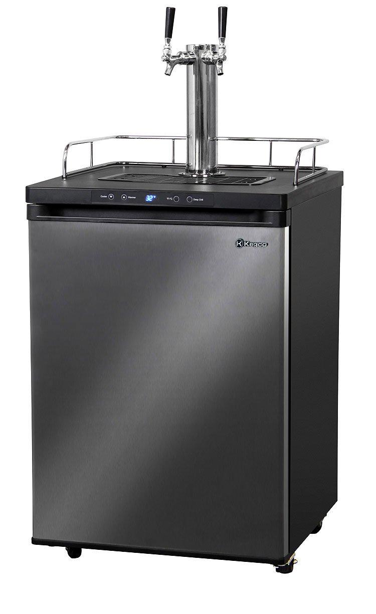 Kegco Black Stainless Kegerator Digital Beer Keg Cooler Refrigerator - Dual Faucet - D System