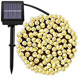 [72foot 200 Led] Solar String Lights OutdoorGarden Lighting, 8 Mode (Steady, Flash), Waterproof, Fairy Lamp Decoration for Halloween, Yard, Fence, Patio, Tree, Party, Holiday, Home (Warm White)