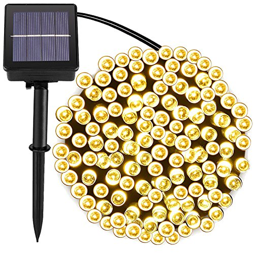 [72foot 200 Led] Solar String Lights Outdoor\Garden Lighting, 8 Mode (Steady, Flash), Waterproof, Fairy Lamp Decoration for Halloween, Yard, Fence, Patio, Tree, Party, Holiday, Home (Warm White) -