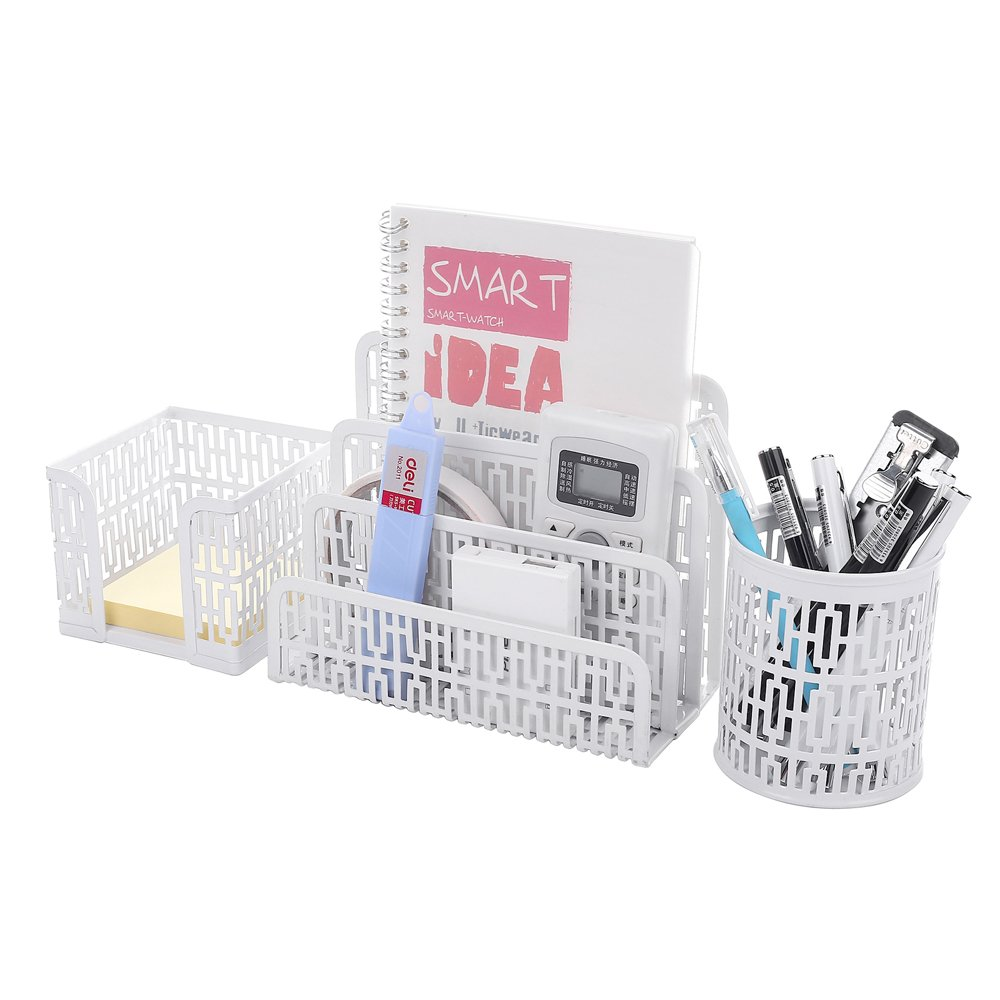 Crystallove Metal Mesh Office Desktop Supplies Organizer Set of 3pcs-Pencil Cup, Stick Note Holder and Letter Shelf (Black-Style 1) Ctystallove Shop