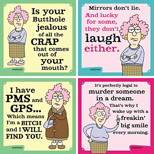 Tree-Free Greetings Hilarious Aunty Acid 4 Piece Set, Mirrors Don't Lie Magnets, Set of 4