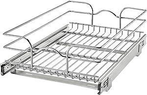 Rev-A-Shelf 5WB1-1522CR-1 15 Inch x 22 Inch Single Wire Basket Pull Out Shelf Storage Organizer for Kitchen Base Cabinets, Silver