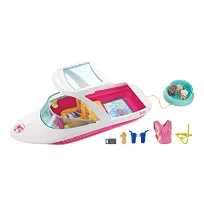 Barbie Dolphin Magic Ocean View Boat Playset - Take Barbie Doll and Her Friends for a Water Ride - Puppies Can Tube Behind - Scuba Snorkel and Life Vest Included - Dolls Sold Separately: Toys & Games [5Bkhe1104458]