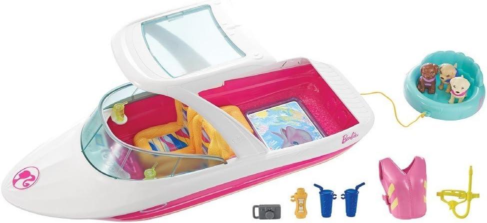Barbie Aventura de los Delfines, barco visión submarina con perritos, accesorios muñeca (Mattel FBD82)