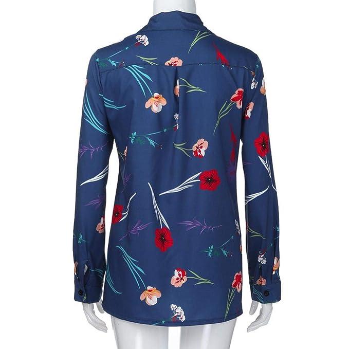Mujer blusa tops casual otoño manga larga,Sonnena Blusa con estampado floral de manga larga Tops blusas floreadas con cuello en V para mujercasual traje de ...