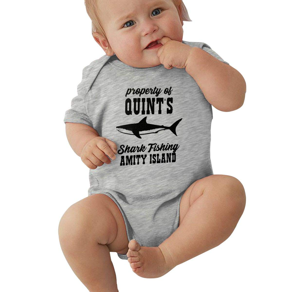 Property of Quints Shark Fishing Baby Boys Girls Jumpsuit Onesies Cotton Tops