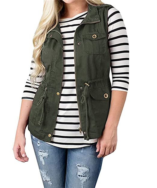 87882056aa3d2 Womens Lightweight Sleeveless Military Anorak Drawstring Jacket Vest Cargo Utility  Safari Vest (S