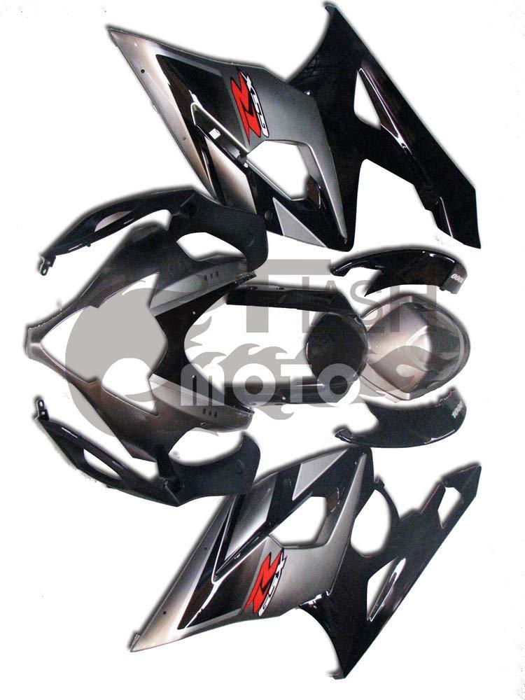 FlashMoto suzuki 鈴木 スズキ K5 GSXR1000 2005 2006用フェアリング 塗装済 オートバイ用射出成型ABS樹脂ボディワークのフェアリングキットセット (シルバー,ブラック)   B07MGRC191