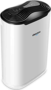 Okaysou AirMax8L Medical Grade Ultra-Duo Air Purifier for Pets, Smokers, Odors, 5-in 1 Large Room Air Cleaner, True HEPA Filter, Eliminates Pet Hair, Smoke, Dust, Pollen, VOCs, 500 Sq.Ft - White