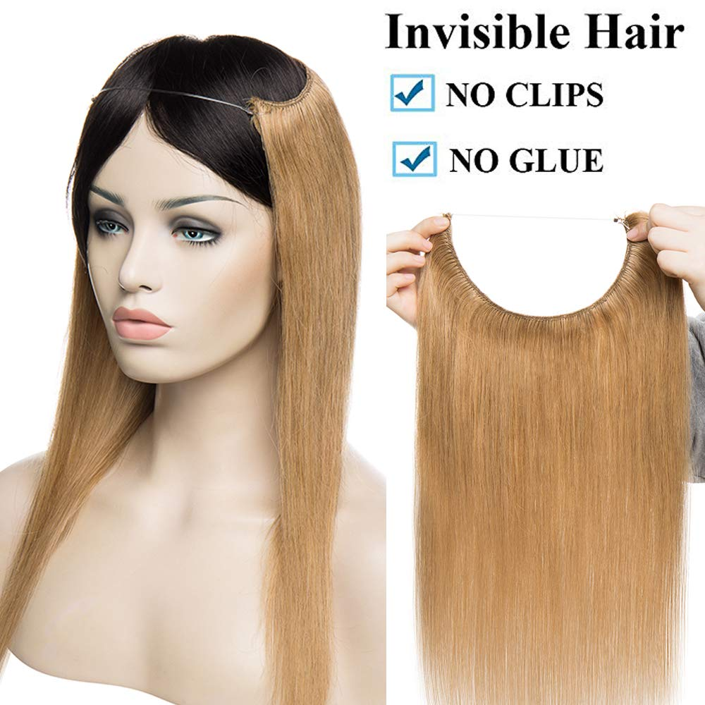 Extensiones de Cabello Natural con Hilo Invisible No Clip 100% Remy Pelo Natural Humano Una Pieza Liso Ajuatable Hair Extensions 20