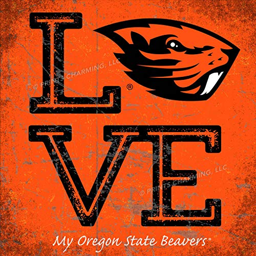 (Prints Charming College Love My Team Beaver Logo Square Color Oregon State Beavers Unframed Poster 13x13 Inches )