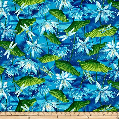 Benartex Kanvas Dance of The Dragonfly Metallic Waterlily Pool Fabric by The Yard, Ultramarine