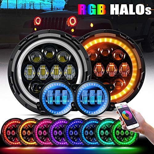 LED Headlights w/RGB Halo Ring + 4