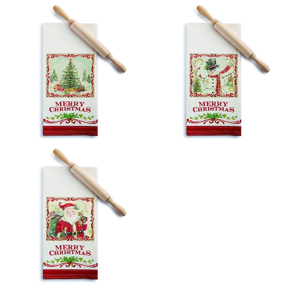 Demdaco Christmas Tree, Snowman, and Santa 3 Pk. Tea Towel and Rolling Pin Sets by Demdaco-Home